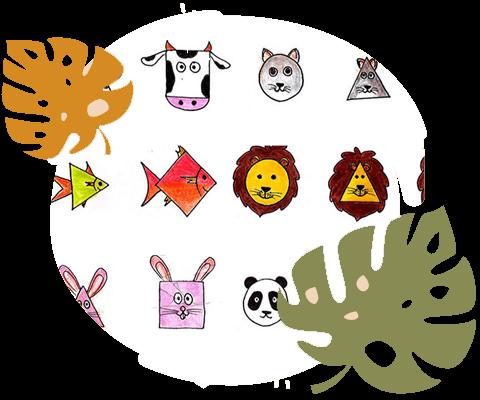 نمونه تصویرگری حیوانات با اشکال هندسی